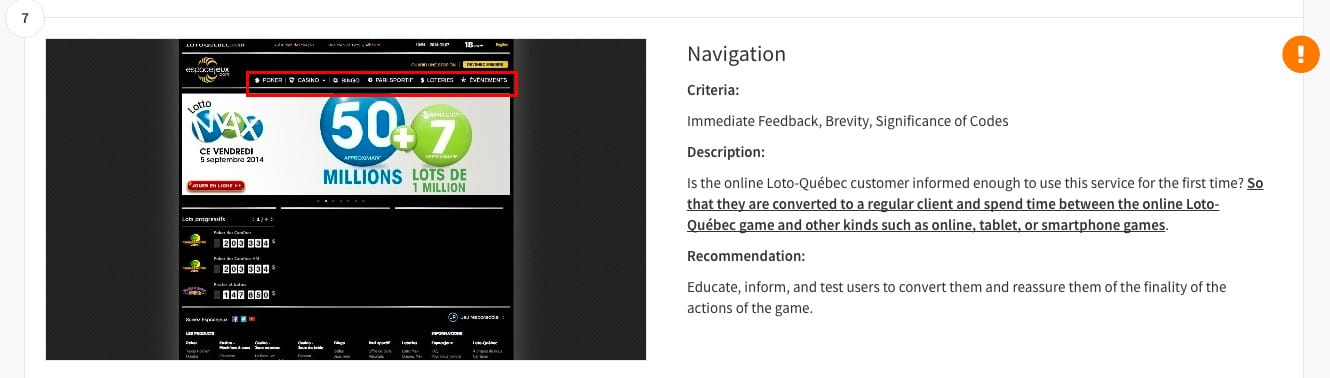 Express UX review - Loto Quebec