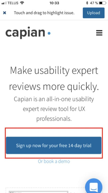 Screenshot of Capian's app to help review UX on mobile